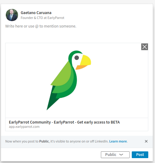 earlyparrot campaign on LinkedIn