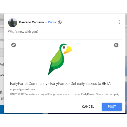 earlyparrot campaign on Google+