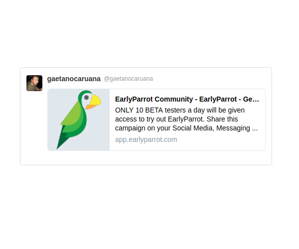 earlyparrot campaign on Tiwtter