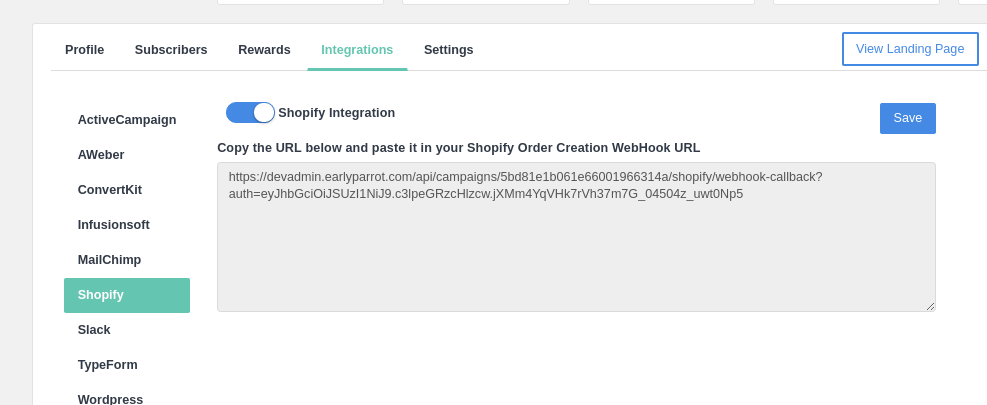Shopify Integration Setup – EarlyParrot Support